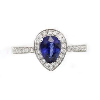 老凤祥   165000621875   白色18K金蓝宝石戒指