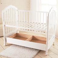丽婴房大用品EN-580白色原木带滚轮储物婴儿木床童床