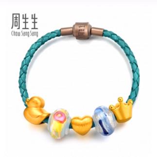周生生  86037B    黄金足金Charme串珠Murano Glass手链【珠宝惠】