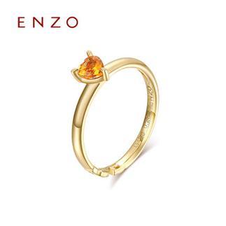 ENZO   10K黄金托帕石石榴石5种彩宝女戒