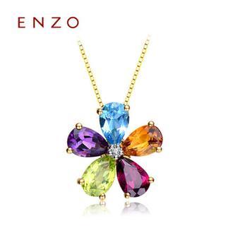 ENZO  18K黄金镶嵌石榴石托帕石黄晶紫晶项坠(不含链)