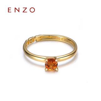 ENZO   10K金托帕石石榴石5种宝石圆形戒指