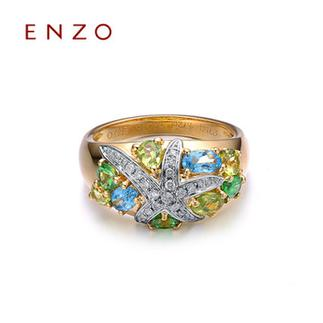 ENZO   18K金橄榄石托帕石紫晶女戒