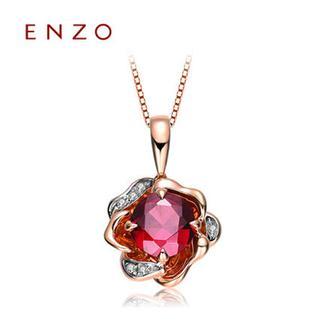 ENZO     18K玫瑰金石榴石新品玫瑰花群镶钻石项坠(不含链)