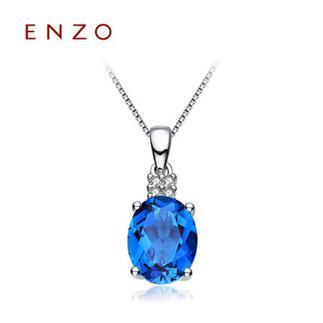 ENZO   18K金彩色宝石群镶钻石伦敦蓝托帕石吊坠(不含链)
