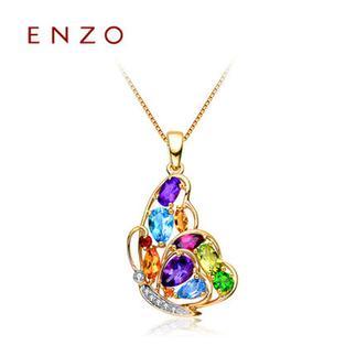 ENZO   18K金石榴石透辉石托帕石蝴蝶天然彩宝吊坠(不含链)