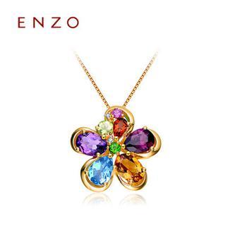 ENZO   18K黄金石榴石紫晶黄晶托帕石花朵项坠(不含链)