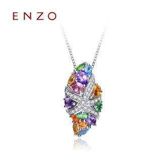 ENZO  18K金纯天然碧玺紫晶黄晶托帕石彩色宝石扭海星吊坠(不含链)