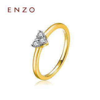 ENZO   K金心形钻戒群镶女戒排戒天然钻石戒指