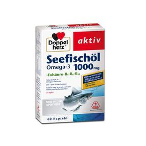 【德国直邮】DOPPELHERZ双心鱼油Omega-3 1000毫克+ 叶酸胶囊 60粒