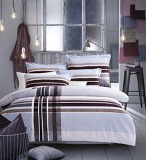 花果果家纺 奥尼亚 四件套 全棉床上用品 磨毛格纹 简约 保暖