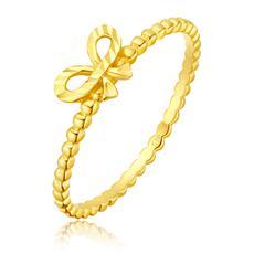 蝴蝶结黄色18K金戒指