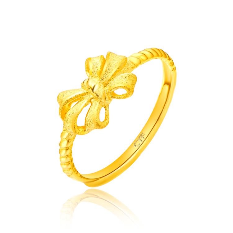 光沙蝴蝶结黄金足金戒指