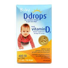 加拿大包邮包税 Ddrops新生婴幼儿童营养维生素D3钙质促进剂补钙 2.5ml 90滴 崔玉涛推荐