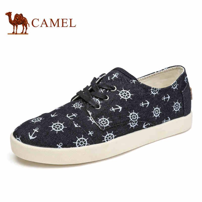 camel骆驼男鞋 2017春季新品帆布鞋 日常休闲个性帆布印花板鞋
