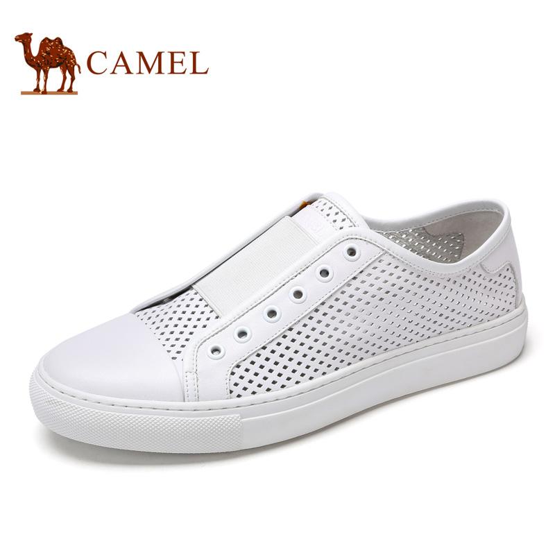 camel骆驼男鞋 2017春季新款 镂空透气牛皮滑板鞋 休闲板鞋小白鞋