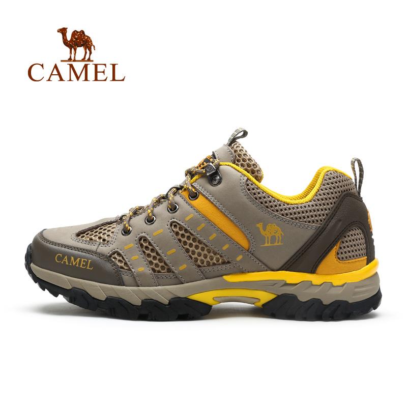camel骆驼男鞋 2016春季新款时尚情侣款运动鞋 牛皮网布登山鞋