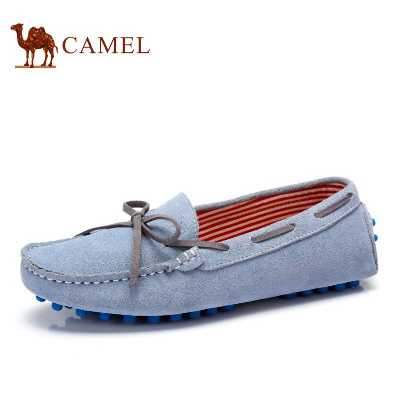 camel骆驼男女鞋 牛皮豆豆鞋休闲鞋潮鞋 情侣鞋 2016春季新款