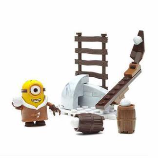 美高小黄人大眼萌打雪仗套装CNF48小颗粒积木玩具礼物