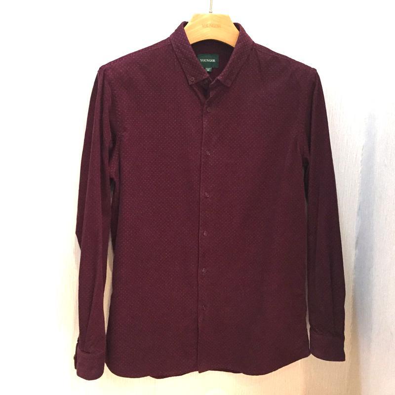 雅戈尔酒红色印花水洗长袖衬衫
