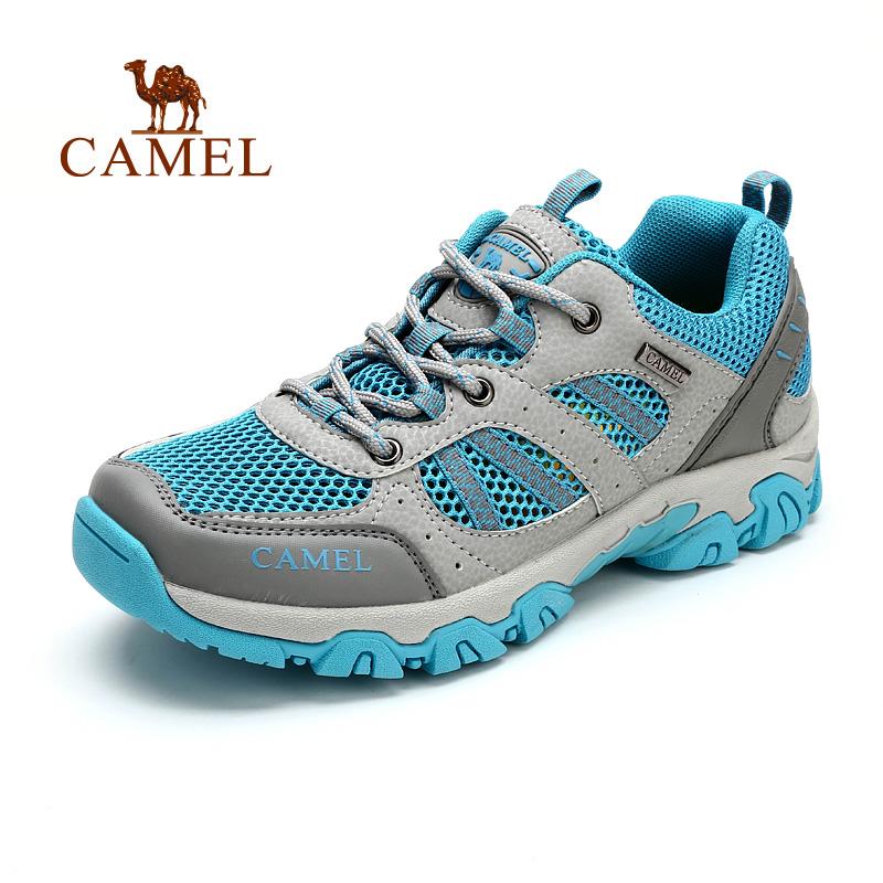 camel骆驼户外徒步鞋 夏季女款透气网布防滑低帮耐磨鞋