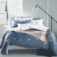克莉维娅 100%全棉斜纹活性印花四件套 经典男士床上用品床单被套1.5米1.8米套件