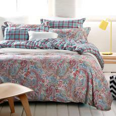 克莉维娅 全棉斜纹活性印花四件套 美式田园风床上用品床单被套1.5米1.8米套件