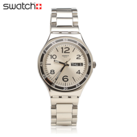 Swatch 手表石英表日历男表 灰色衬衫YGS766G