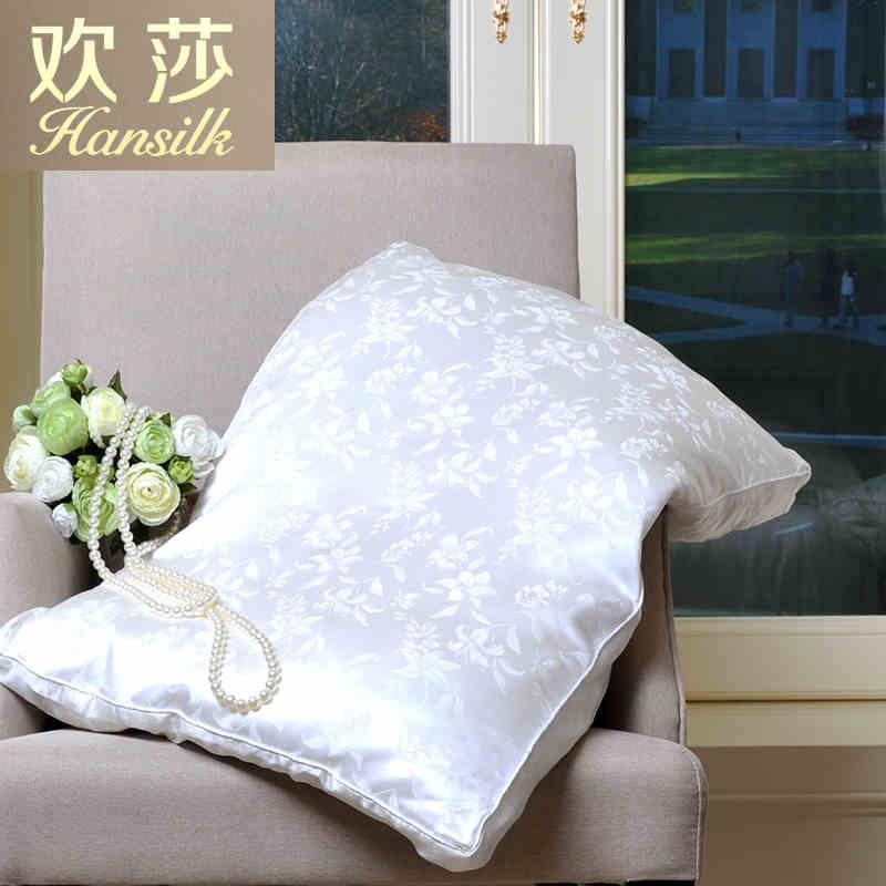 Hansilk欢莎家纺真丝提花面料蚕丝加聚酯纤维填充枕头枕芯香梦蚕丝枕