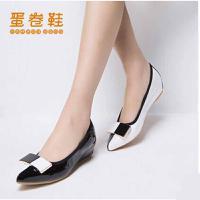 蛋卷鞋潮女拼色亮片时尚尖头豆豆鞋内增高平底鞋EQS-0394-100