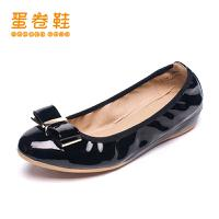 蛋卷鞋春夏款浅口蝴蝶结甜美小清新女内增高平底鞋EQS-0404-100