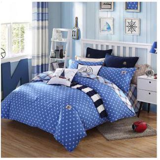 梦洁宝贝儿童全棉三件套件学生床上用品学院风男孩床单被套耶鲁三件套 蓝色1.2米床1030142752