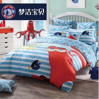梦洁宝贝儿童纯棉四件套海底总动员床单被套男孩四件套章鱼汉克1.5米床1030142832