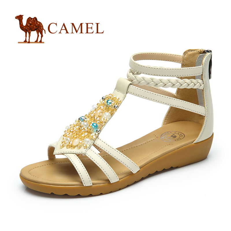 camel骆驼女鞋 夏季镶珠波西米亚风 耐磨中坡跟牛皮休闲百搭女凉鞋