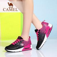 camel骆驼女鞋 夏季新款 网面系带渐变拼色气垫运动鞋跑鞋