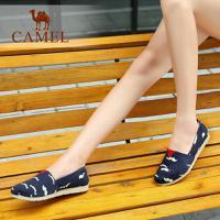 camel骆驼女鞋 卡通印花时尚舒适休闲鞋 低跟平底单鞋帆布鞋乐福鞋