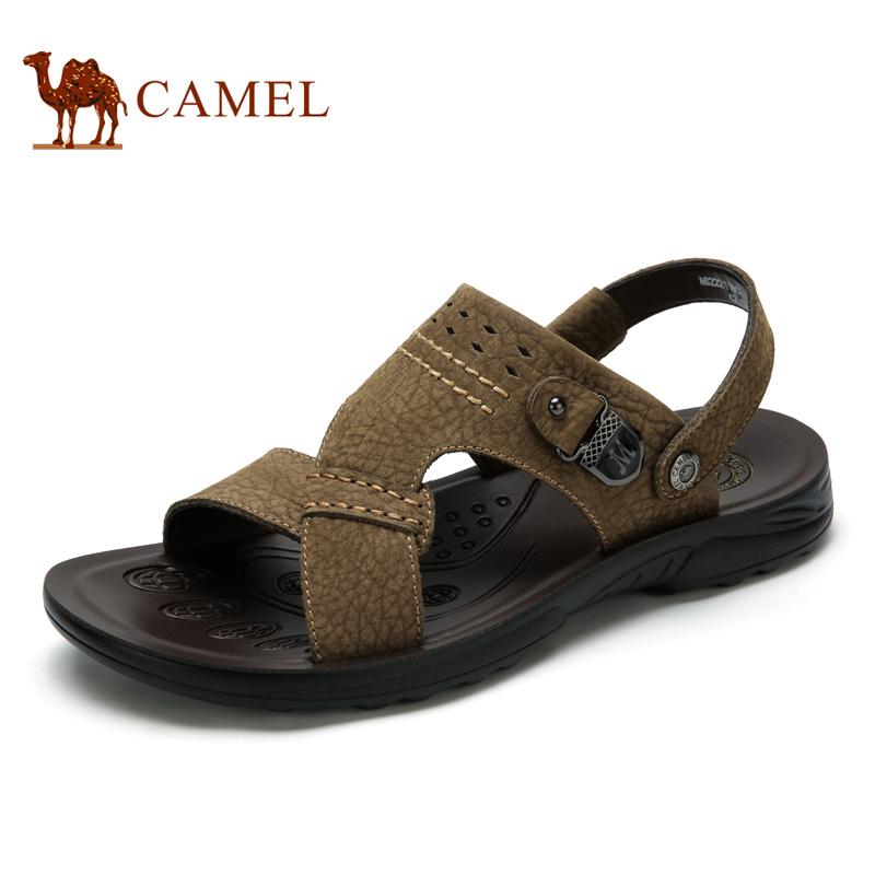 camel骆驼男鞋 2016夏季新款 时尚休闲鞋子男士真皮两穿凉鞋凉拖鞋