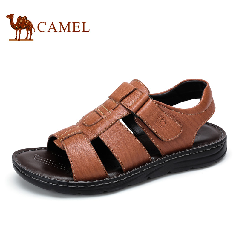 camel骆驼男鞋 2016夏季新款 真皮魔术贴日常休闲鞋凉鞋男士鞋子