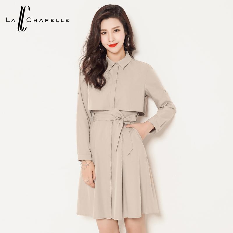 拉夏貝爾2016秋裝新款 純色修身簡約方領風衣式連衣裙圖片