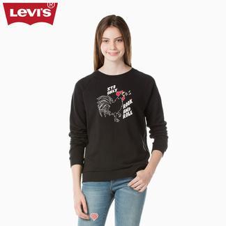 Levi's李维斯新春系列女士印花黑色圆领套头卫衣29717-0006