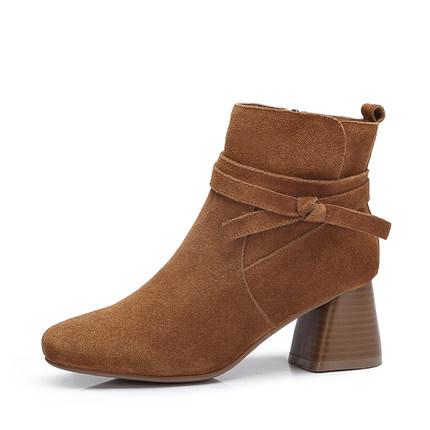 camel 骆驼女鞋 2017秋冬新款简约系带装饰短靴 百搭拉链高跟方跟女靴子