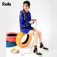 puella短款休闲运动套装2017冬装新款韩版时尚长袖字母印花短裙套装女20010969