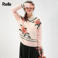 puella2017秋冬新款加厚韩版学生v领毛衣百搭宽松长袖粉色套头针织衫女20011093