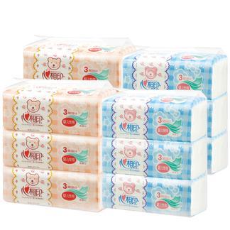 心相印抽纸 3层餐巾纸12包婴儿面巾纸家用卫生纸整箱纸巾抽纸