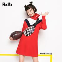 puella 2017冬装新款韩版学生撞色V领百搭高领中长款长袖针织衫连衣裙女20011096