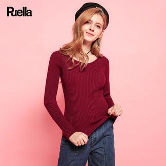 puella 2017秋冬新款韩版修身显瘦竖条纹纯色打底衫V领长袖套头针织衫女20011120