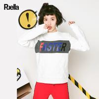 puella圆领套头卫衣女2017冬装新款韩版宽松学生长袖五角星肌理百搭上衣20011133