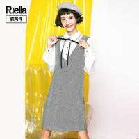 puella假两件背带裙女韩版2017冬装新款学生显瘦衬衫长袖呢子连衣裙女20011262