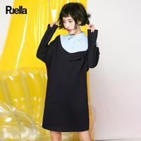 puella假两件衬衫连衣裙女2017冬装新款韩版拼接潮显瘦荷叶边长袖裙子20011263