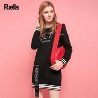 puella2017秋冬新款宽松百搭潮牌字母刺绣中长款织带套头卫衣连衣裙 女20011271